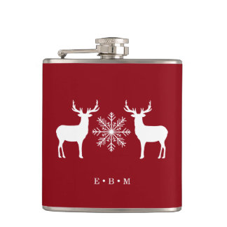 Woodland Deer Monogrammed Christmas Flask