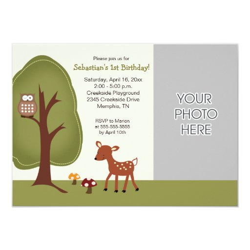 Woodland Deer Nature Birthday Invitation