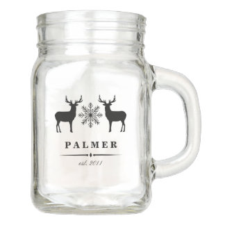 Woodland Deer Personalized Family Name Mason Jar