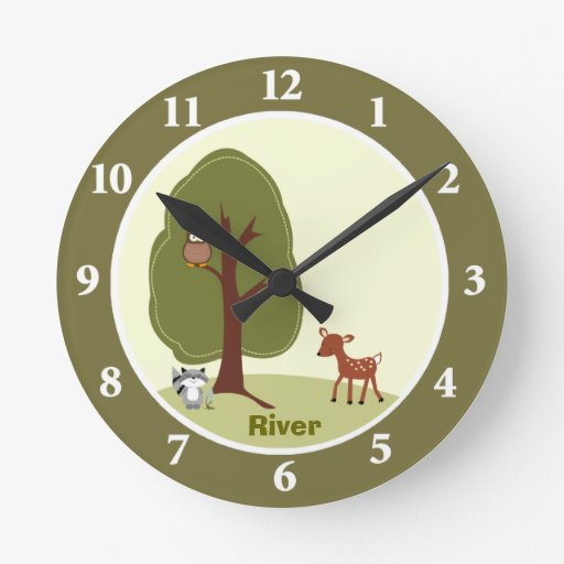 Woodland Deer Personalized Wall Clock