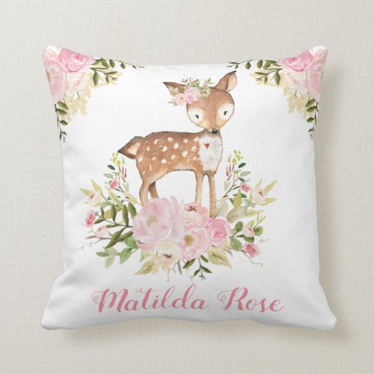 Woodland Deer Pink Fl Peony Nursery Decor Throw Pillow