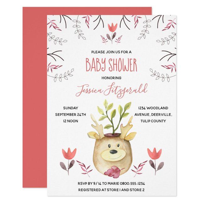 Woodland Deer Potted Plant Coral Baby Shower Invitation