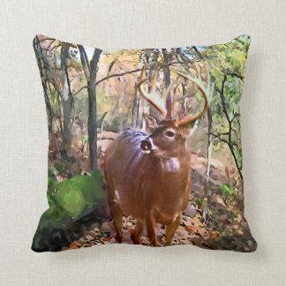 Woodland Deer Square Throw Pillow