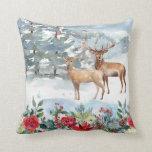 "Woodland Deer Throw Pillow<br><div class=""desc"">A snowy woodland scene with two deer.</div>"