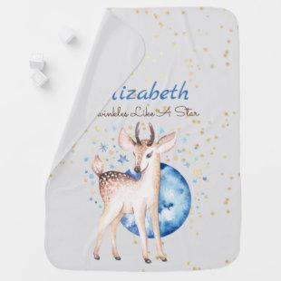Woodland Deer Twinkle Stars Baby NAME Gift Floral Baby Blanket