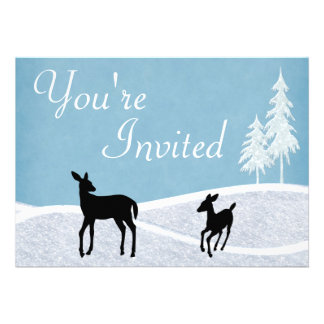 Woodland Deer Winter Baby Shower Invitation