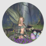 Woodland Easter Egg Fairy Round Stickers