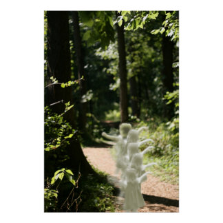 Woodland Fairies in Enchanted Forest Poster