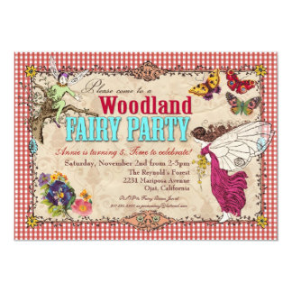 """Woodland Fairy Party Invitation 5"""" X 7"""" Invitation Card"""