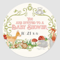 Woodland Fairy Tale Baby Shower Invitations Cards Classic Round Sticker