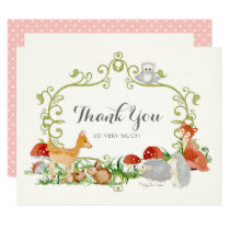 Woodland Fairy Tale Baby Shower Thank You Notes Card
