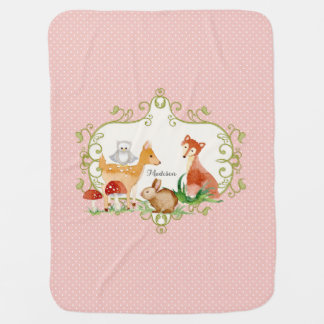 Woodland Fairy Tale Forest Animals Nursery Throw Baby Blanket