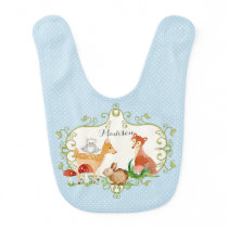 Woodland Fairy Tale Forest Animals Nursery Throw Bib