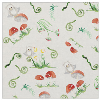 Custom woodland animals fabric for upholstery quilting for Boy nursery fabric