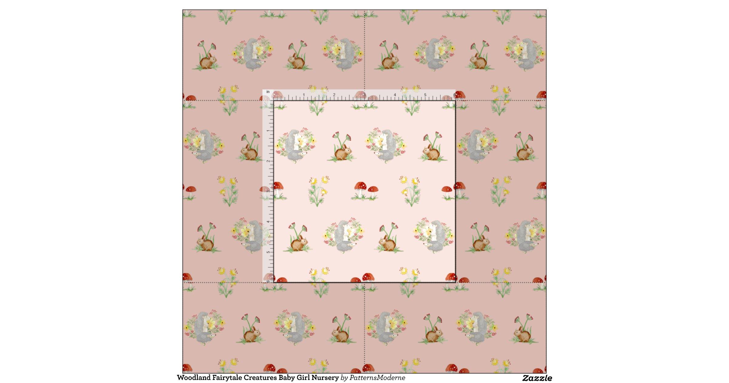 Woodland fairytale creatures baby girl nursery fabric for Baby girl fabric