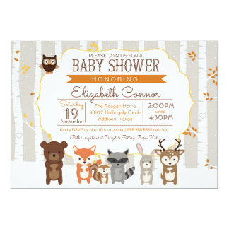 Woodland Fall / Winter Baby Shower Invitation