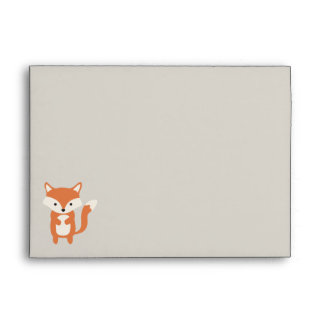 Woodland Fall / Winter Baby Shower Little Fox Envelope