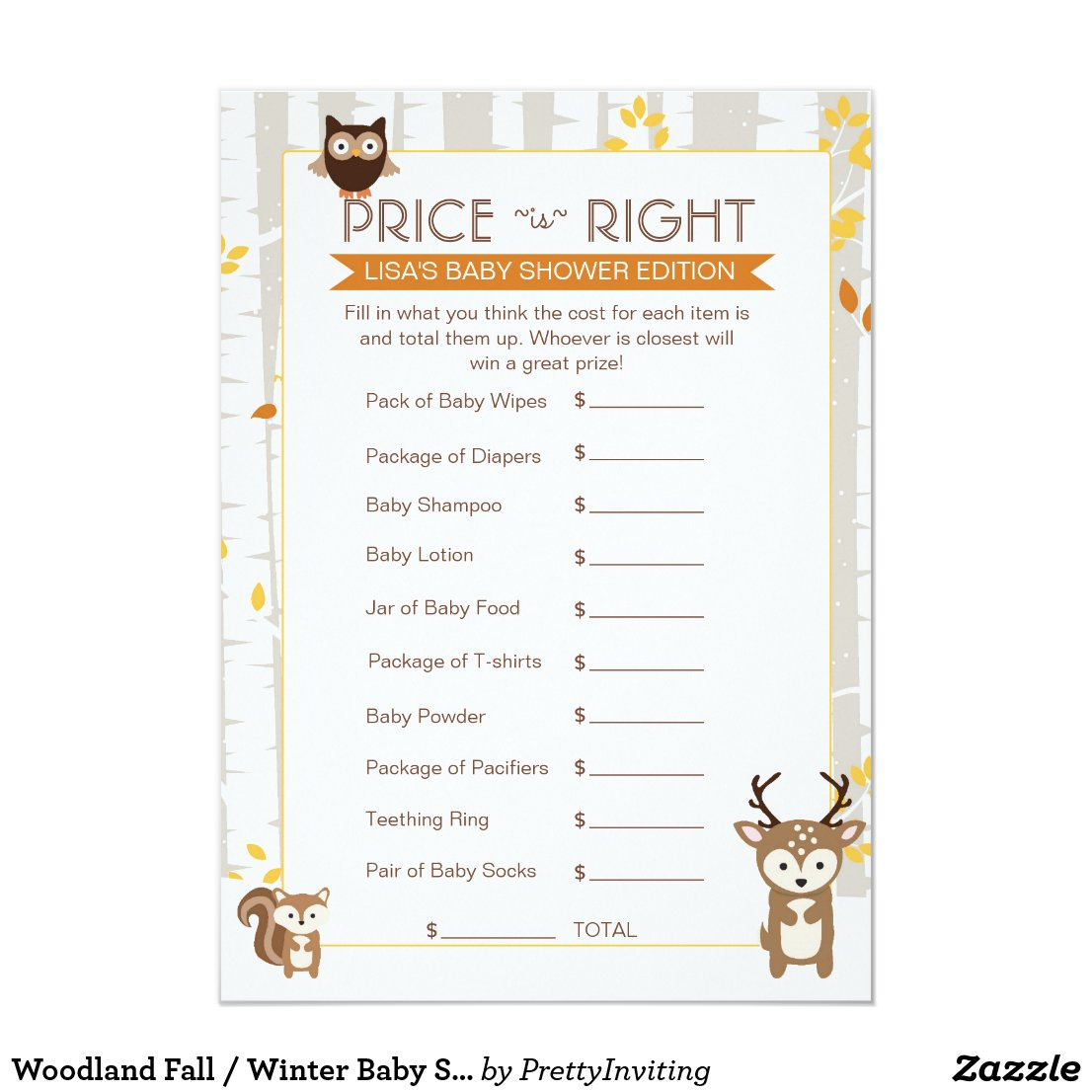 Woodland Fall / Winter Baby Shower Price Game Card