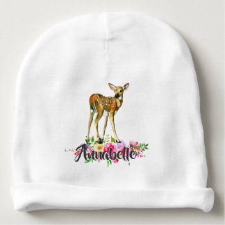 Woodland Fawn Deer Watercolor Floral Baby Monogram Baby Beanie