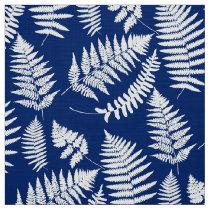 Woodland Fern Pattern, Cobalt Blue and White Fabric
