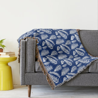 Woodland Fern Pattern, Cobalt Blue and White Throw