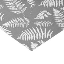 Woodland Fern Pattern, Gray / Grey and White Tissue Paper