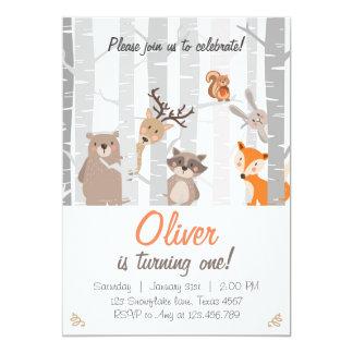 Woodland First Birthday Invitation Forest Animals