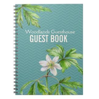 Woodland floral art & chevron guest book notebook notebook