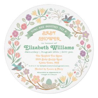 Woodland Floral Wreath Baby Shower Invitation