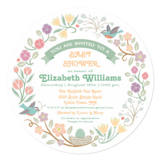 "Woodland Floral Wreath Baby Shower Invitation 5.25"" Square Invitation Card"