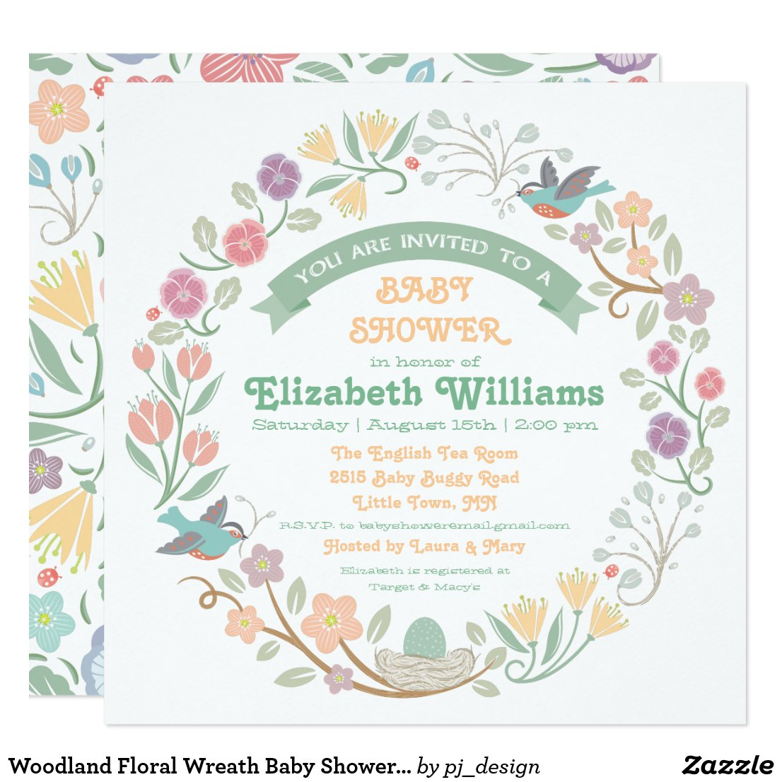 Woodland Floral Wreath Baby Shower Invitation