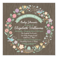 Woodland Floral Wreath Baby Shower Invitation II
