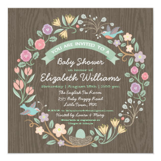 "Woodland Floral Wreath Baby Shower Invitation II 5.25"" Square Invitation Card"