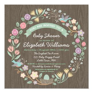 "Woodland Floral Wreath Baby Shower Invitation II 5.25"" Square Invitation Card"