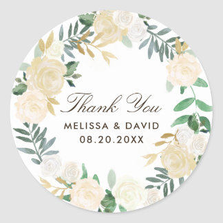 Woodland Floral Wreath Thank You Stickers