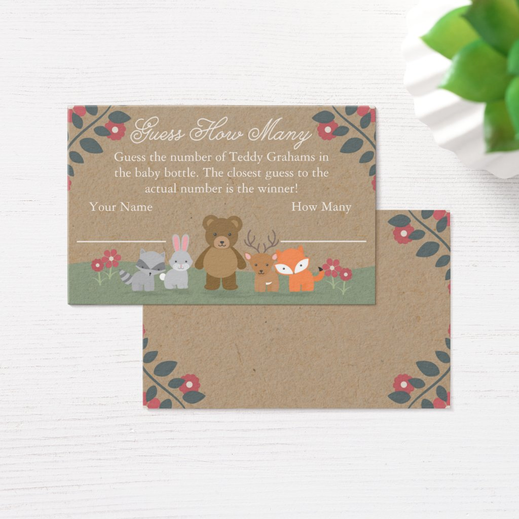 Woodland Florals Baby Shower Guess How Many Card