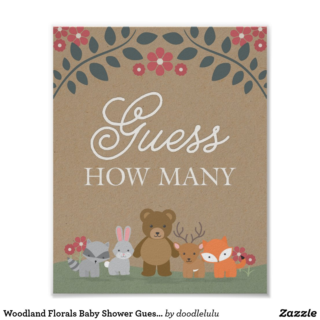 Woodland Florals Baby Shower Guess How Many Game Poster
