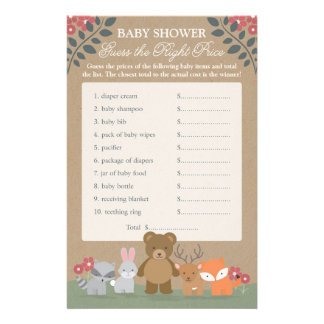Woodland Florals Baby Shower Guess Right Price Flyer
