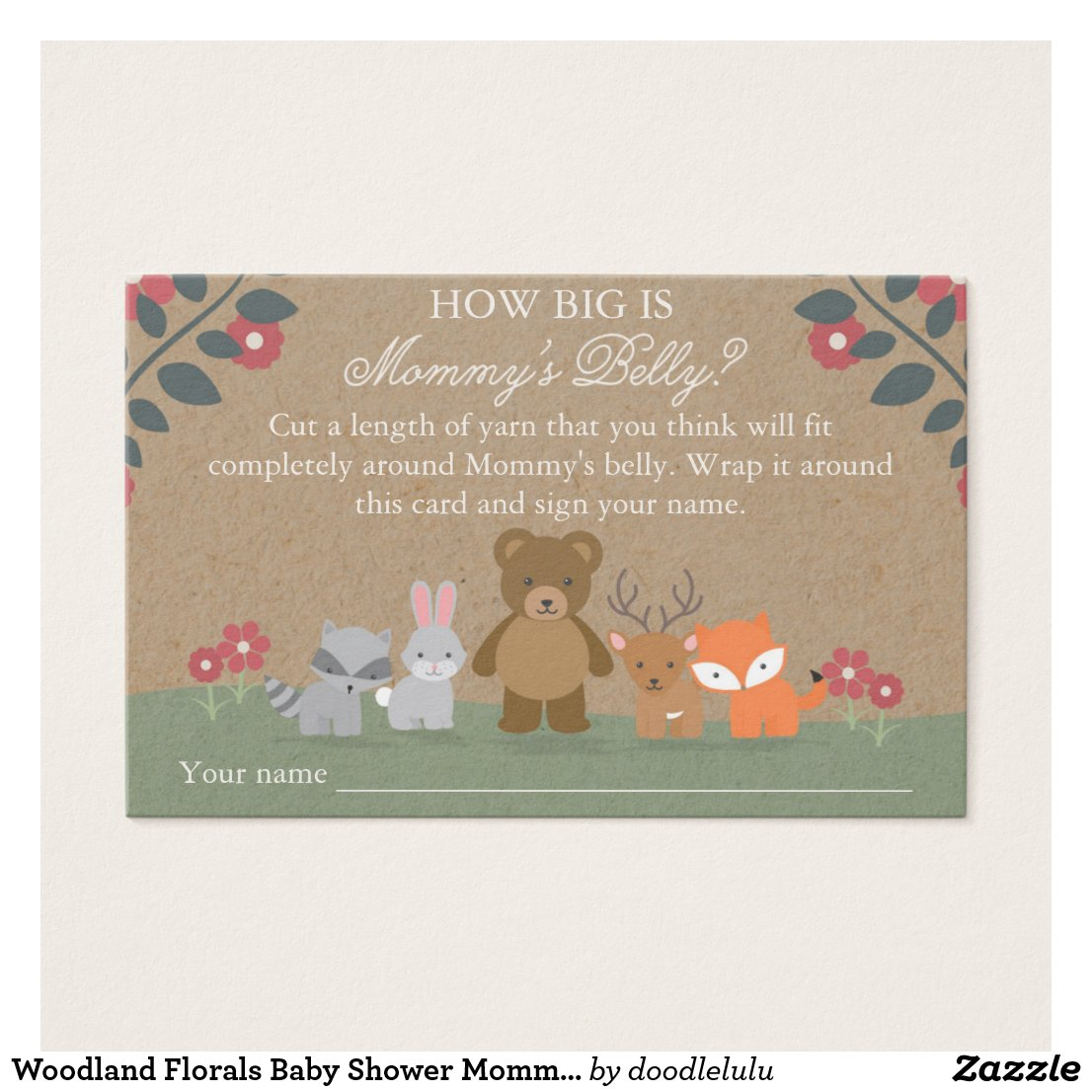 Woodland Florals Baby Shower Mommy's Belly Game