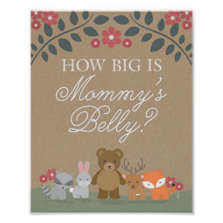 Woodland Florals Baby Shower Mommy's Belly Game Poster