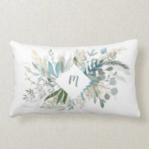 Woodland Foliage with Monogram Lumbar Pillow
