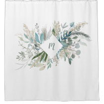 Woodland Foliage with Monogram Shower Curtain