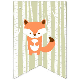 Woodland Forest Animal Baby Shower Bunting Flags
