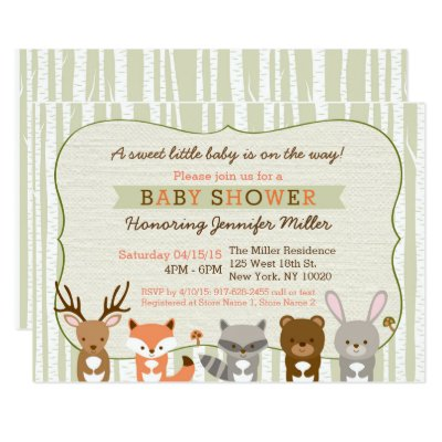 cute woodland animal invitations | zazzle, Baby shower invitations