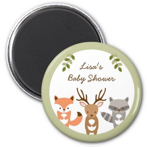 Woodland Forest Animal Baby Shower Magnet