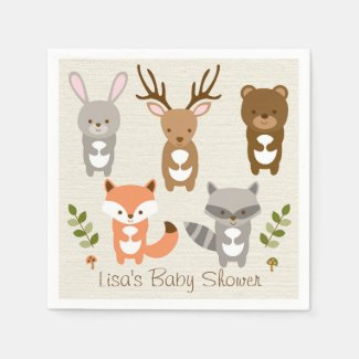 Woodland Forest Animal Baby Shower Napkin