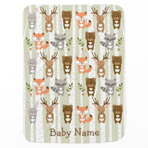 Woodland Forest Animal Baby Shower Receiving Blanket