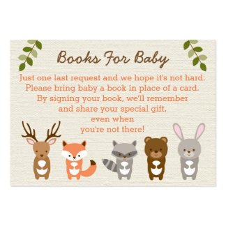 Woodland Forest Animal Book Request Cards Large Business Cards (Pack Of 100)