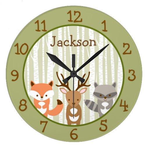 Woodland Forest Animal Nursery Large Clock