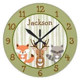Woodland Forest Animal Nursery Wall Clock